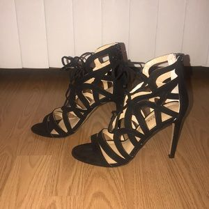 Express black strappy heel with back zipper